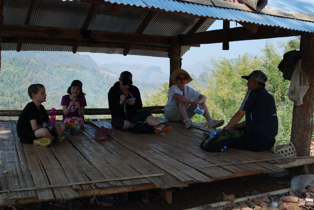Stopping for a rest and a snack in a bamboo hut overlooking the valley.