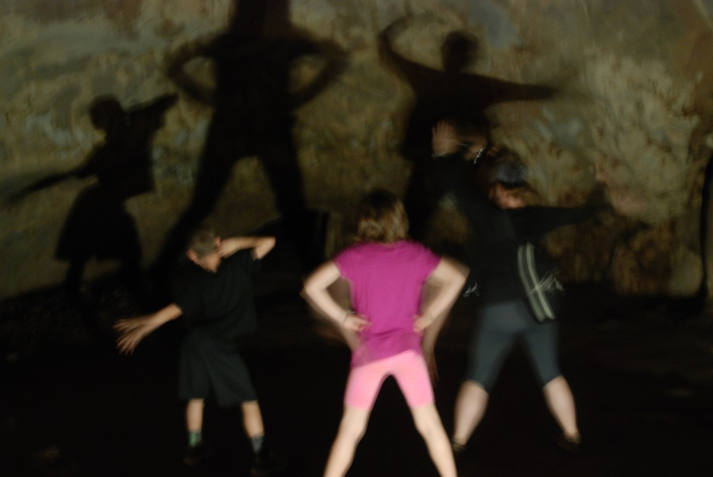 The kids and Nicole having fun with shadows!