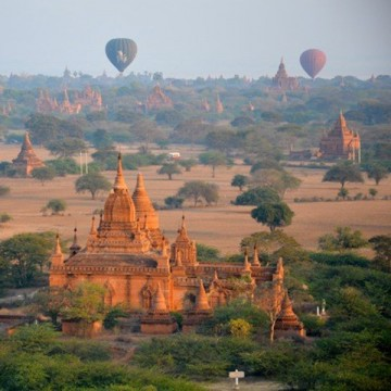 Hot air ballooning over Bagan, Myanmar