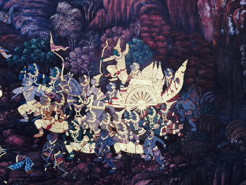 An exerpt from the extensive mural at Bangkok's Grand Palace.