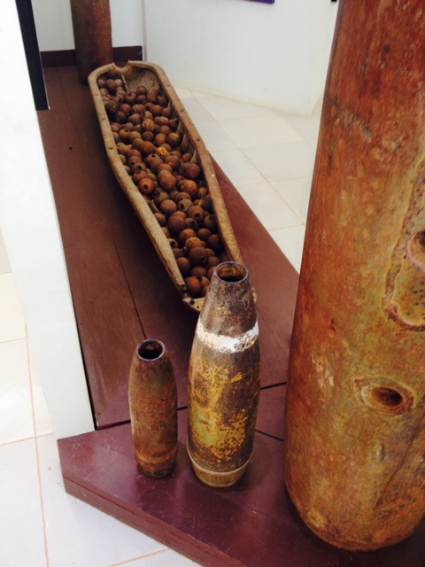 Bombs on display located at the main entrance of the Plain of Jars sites.