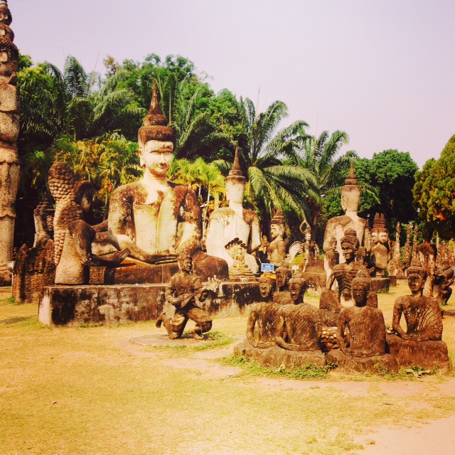 Some of hundreds of Buddha statues to be seen at Buddha Park in Vientiane, Laos.