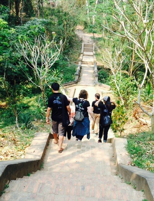 Journeys Within staff on tour inspection in Luang Prabang, Laos.