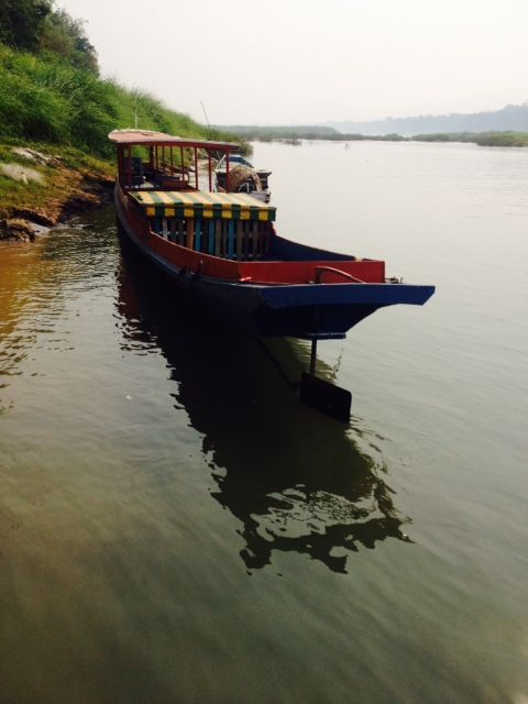 A typical longtail boat seen on the Mekong.