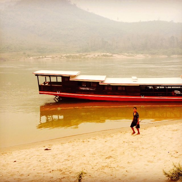 One of the riverboats used for the Luang Say Cruise down the Mekong River in Laos.