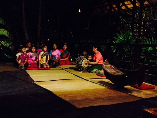 Local children singing during the welcome performance at Luang Say Lodge.