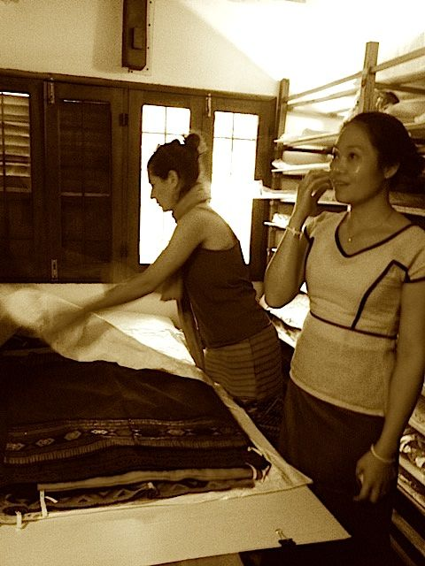 Joanna (left) and Veo (right), giving Journeys Within an exclusive look at their textile catalogue room.