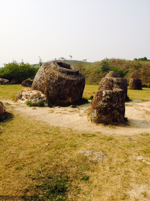 Some of the ancient jars located at the Plain of Jars near Phonesavanh, Laos.