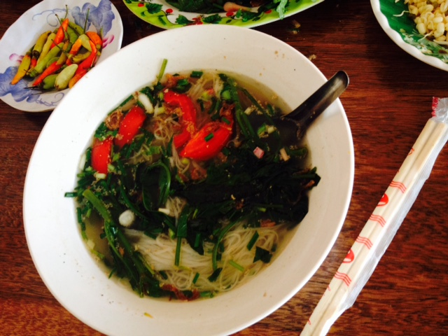 Delicious noodle soup in Muang Khoun, Laos.