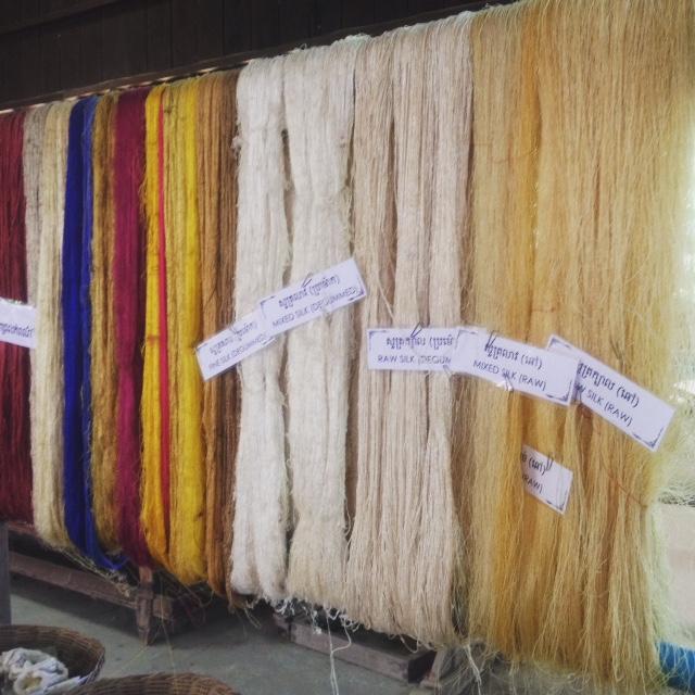 Dyed and raw silk at Artisan D'Angkor.