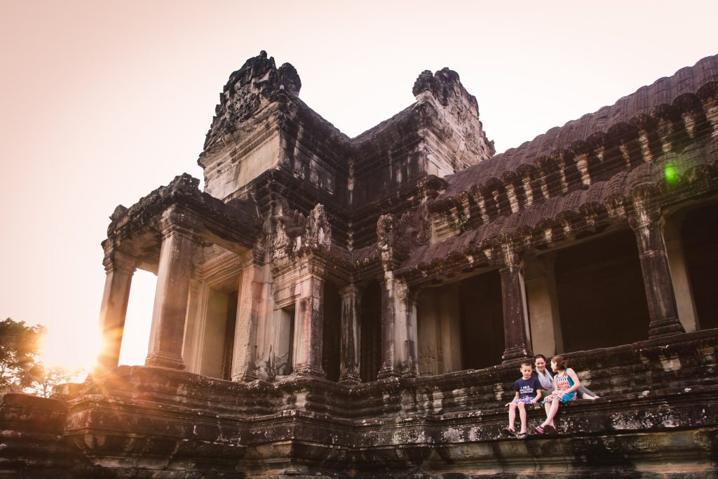Andrea, Callie and Couper enjoying a quiet early morning at Angkor Wat